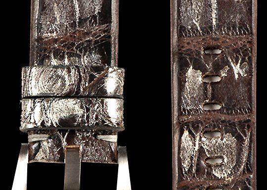 01 Vintage Alligator Strap Brown Silver