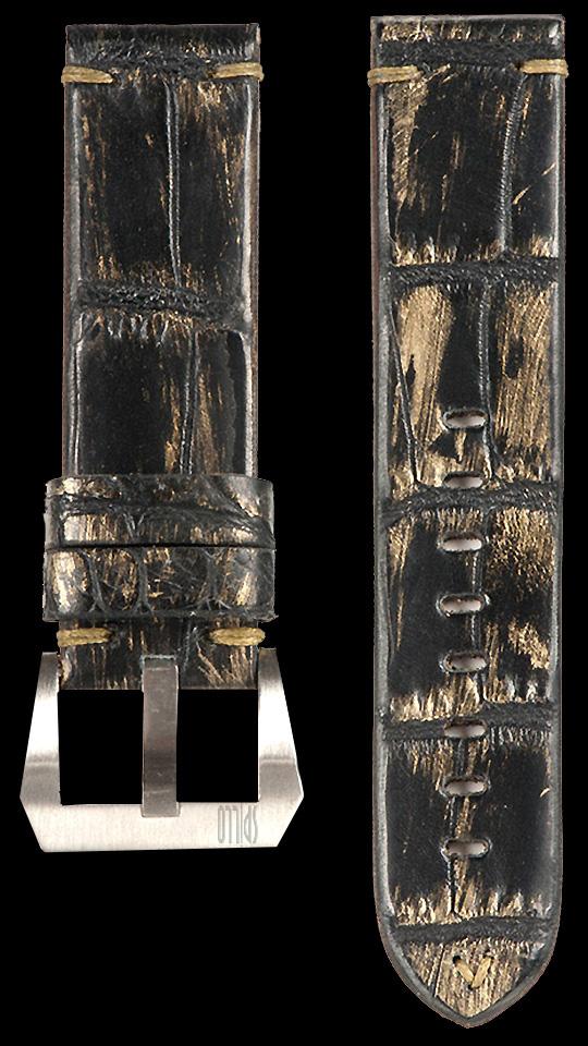 16 Vintage Alligator Strap Black/Gold